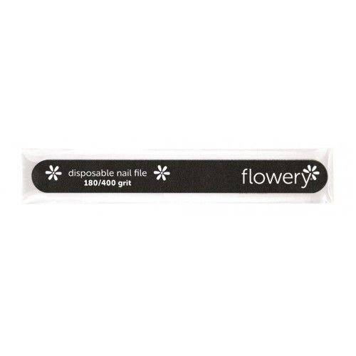 Flowery Disposable Cushion Core Nail File 180 400 Grit Black 100 Ct The Spa Mart