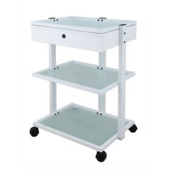 Beauty Trolley With 3 Tier Glass Shelves and Locking Drawer