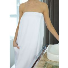 Microfiber Terry Lined Spa Wrap White - OSFM