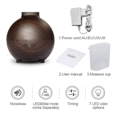 Aroma Diffuser Mist Maker Aromatherapy Humidifier Household with LED Light - Dark Wood - 600ml
