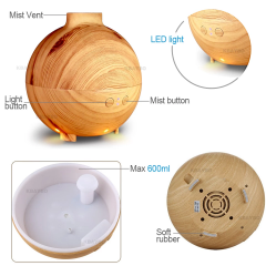 Aroma Diffuser Mist Maker Aromatherapy Humidifier Household with LED Light - Light Wood - 600ml