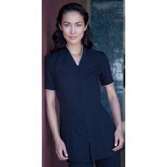 Pravia Jacket Short Sleeve Uniform - Black with White Piping