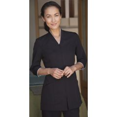 Pravia Jacket 3/4 Sleeve Uniform - Black with White Piping
