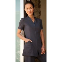 Pravia Jacket Short Sleeve - Charcoal with White Piping