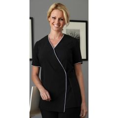 Sofia Wrap Uniform - Black with White Piping