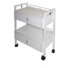 WOODEN TROLLEY WITH TWO DRAWERS (WITH LOCK - LOCKABLE)